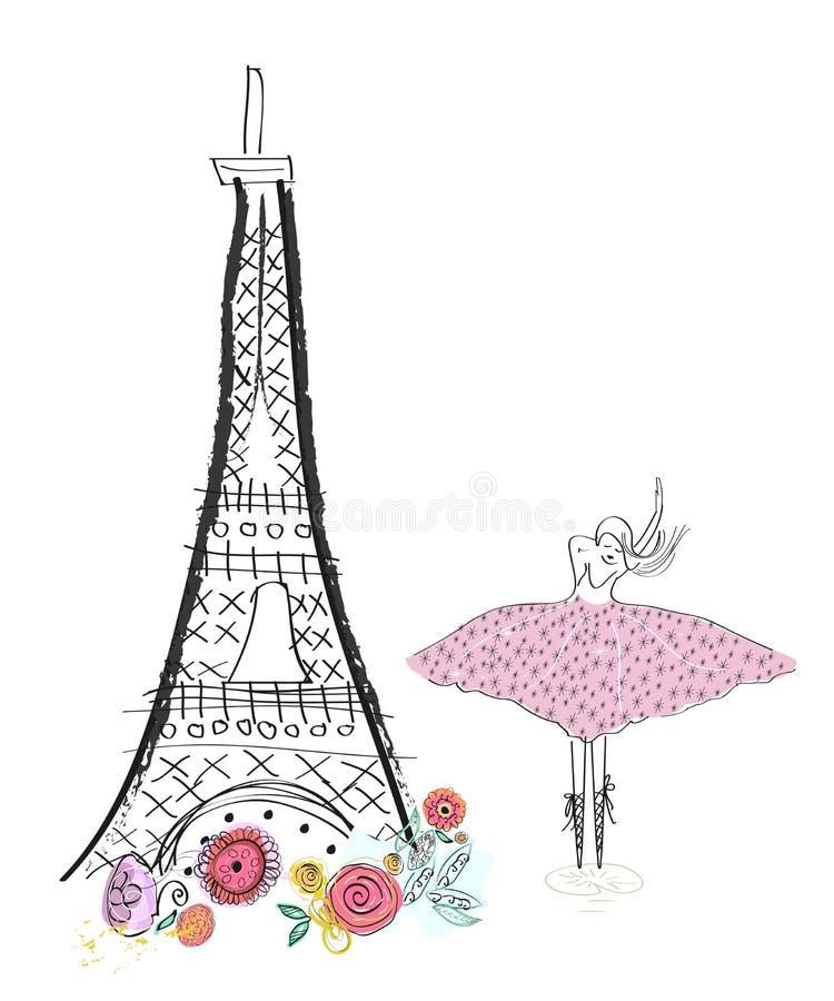 Eiffeltorn och vårblommor och balettdansör Hand dragit illustrationhälsningkort royaltyfri illustrationer