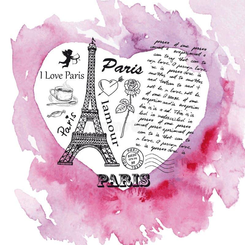 Eiffeltorn på bakgrunden av vattenfärghjärta royaltyfri illustrationer