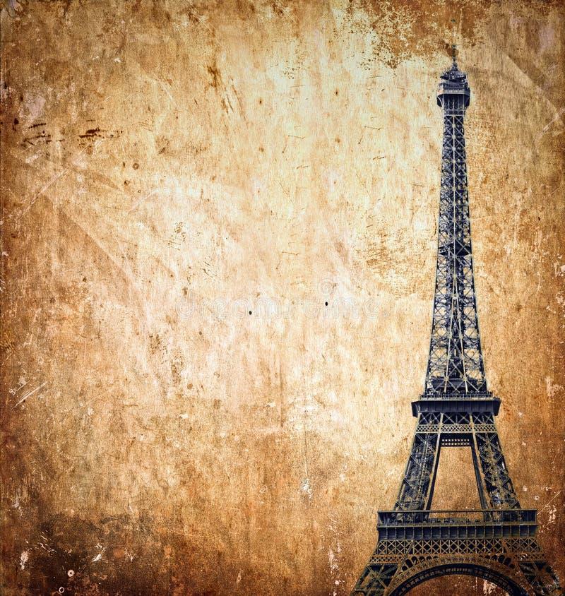 Eiffeltorn på grungebakgrund arkivfoton