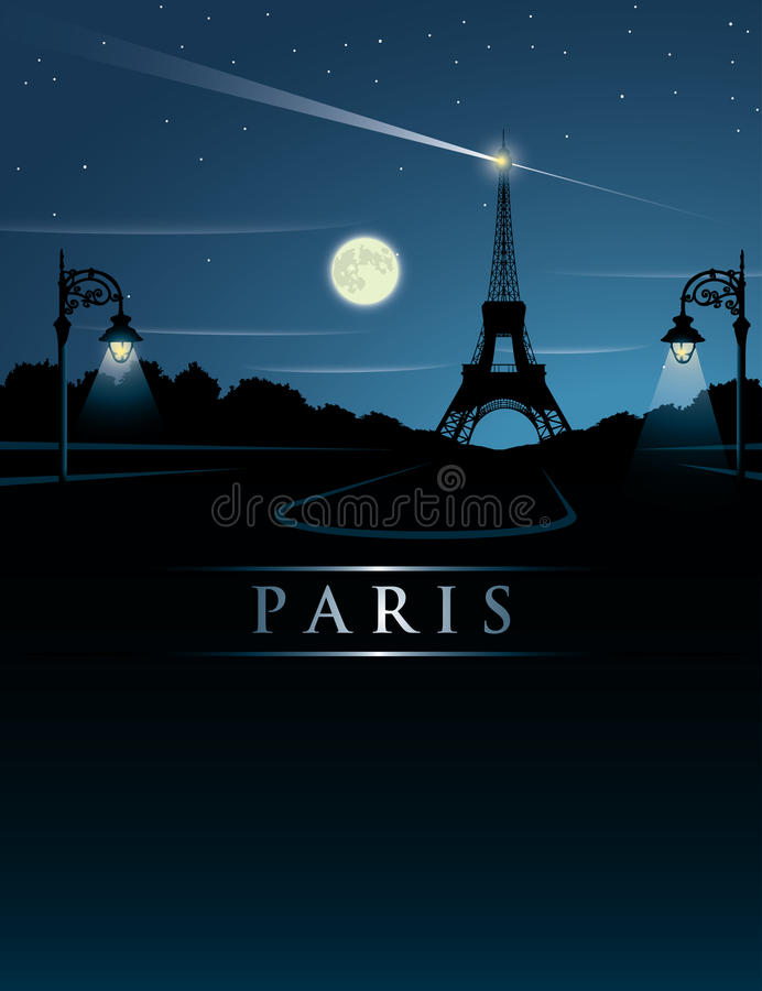Eiffeltorn på natten royaltyfri illustrationer