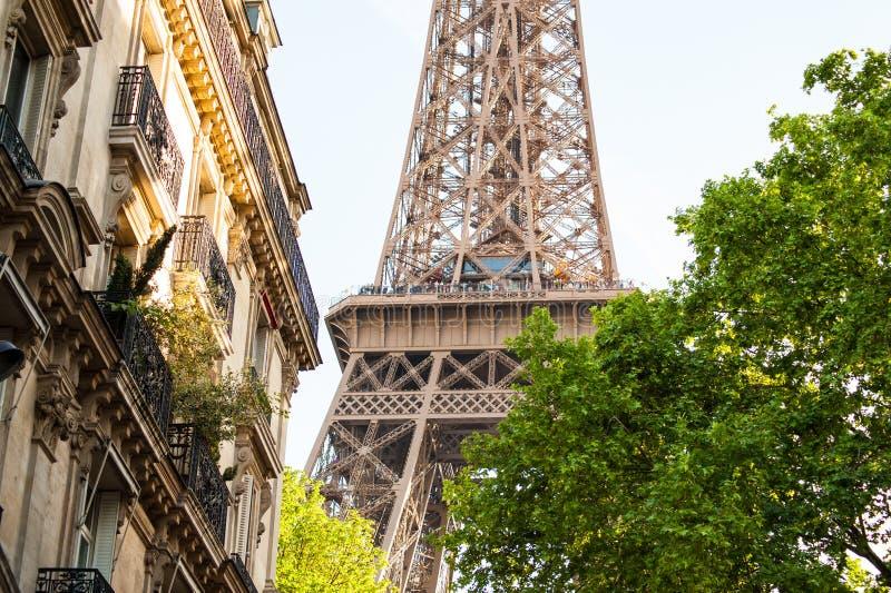 Eiffeltorn Paris, Frankrike som omges av sommarlövverk arkivfoto
