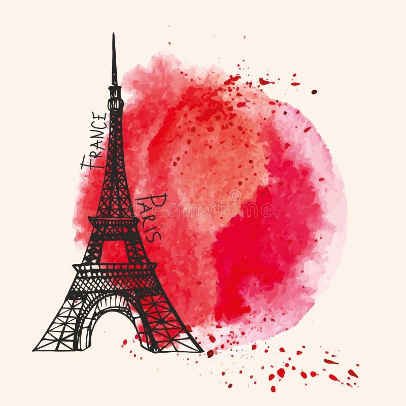 Eiffeltorn röd färgstänk för vattenfärg Paris kort stock illustrationer