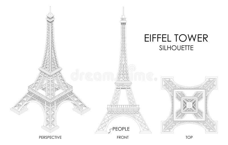 Eiffeltornkontur vektor illustrationer
