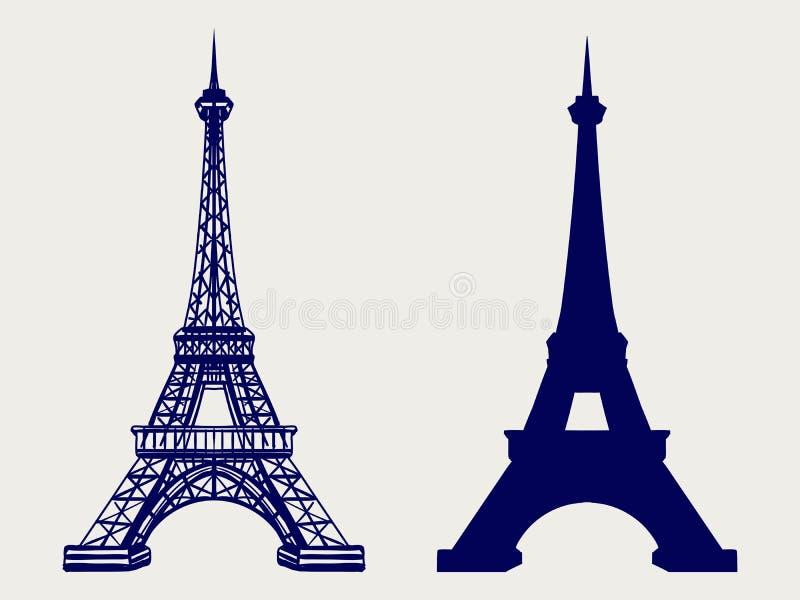 Eiffeltornkontur och skissade symboler stock illustrationer