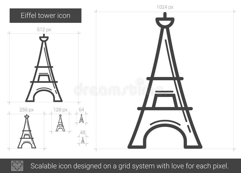 Eiffeltornlinje symbol royaltyfri illustrationer