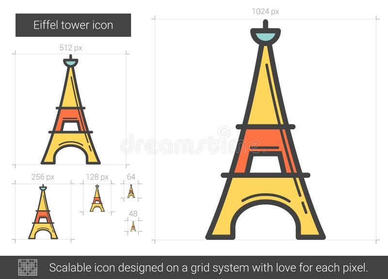 Eiffeltornlinje symbol stock illustrationer