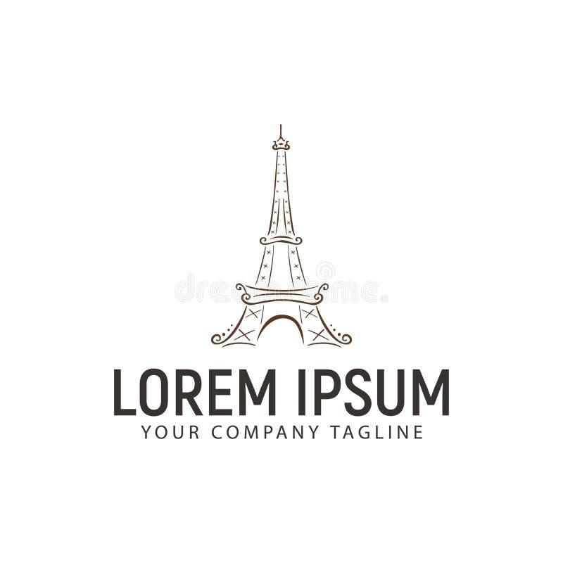 Eiffeltornlogo mall för handrawndesignbegrepp royaltyfri illustrationer