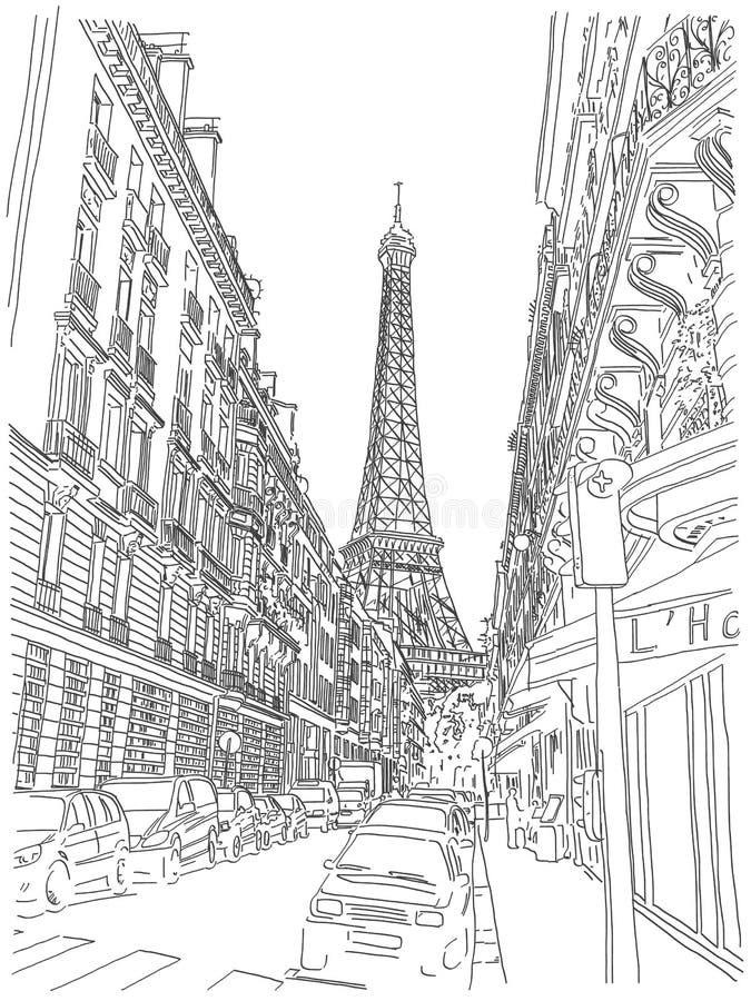 Eiffeltornsikt royaltyfri illustrationer