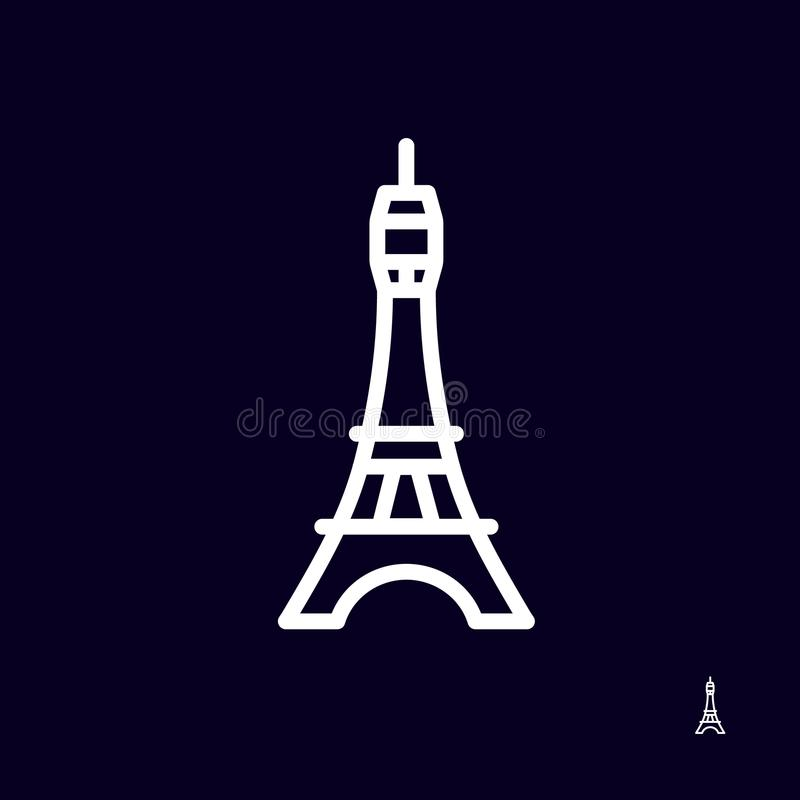 Eiffeltornsymbolslogo på mörk bakgrund - isolerad vektorillustration Förenklad design vektor illustrationer