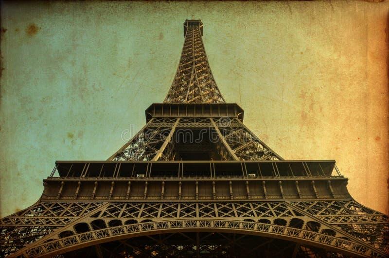 Eiffeltorntappningvykort royaltyfria foton