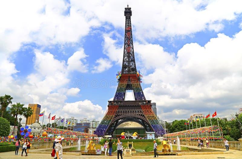 Eiffelturm am Fenster der Welt, Shenzhen, Porzellan stockbild