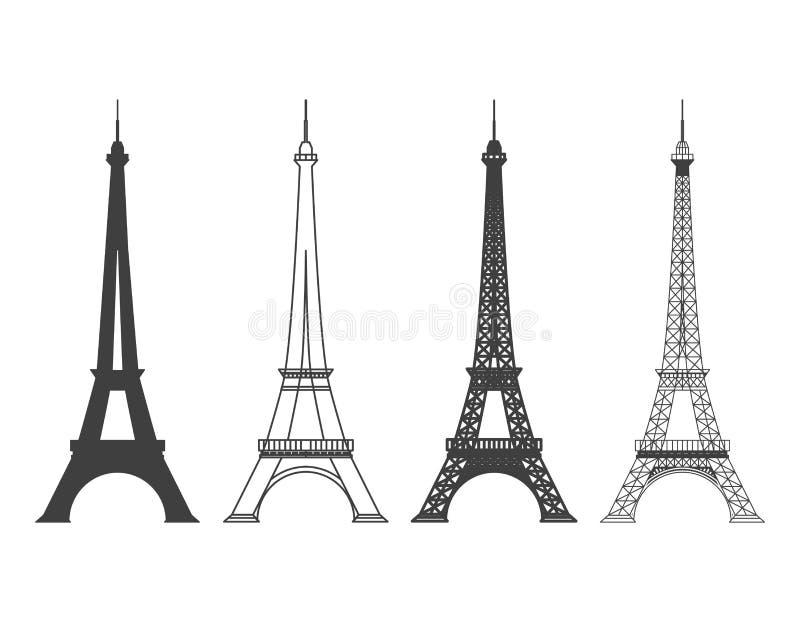Eiffelturm im Paris-Vektor-Schattenbild stock abbildung