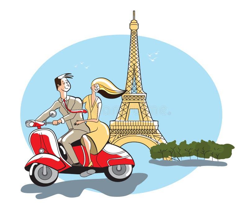 Eiffelturm, Paris, Frankreich, junger Paarretrostil, der einen Bewegungsroller reitet lizenzfreie abbildung