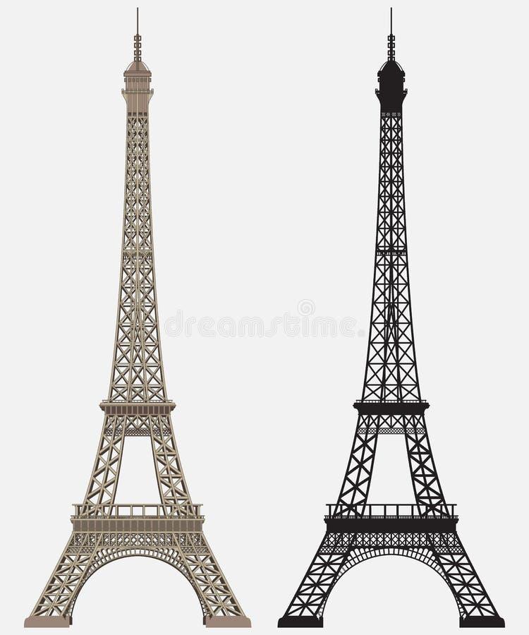 Eiffelturm-schwarzes Schattenbild stockbild