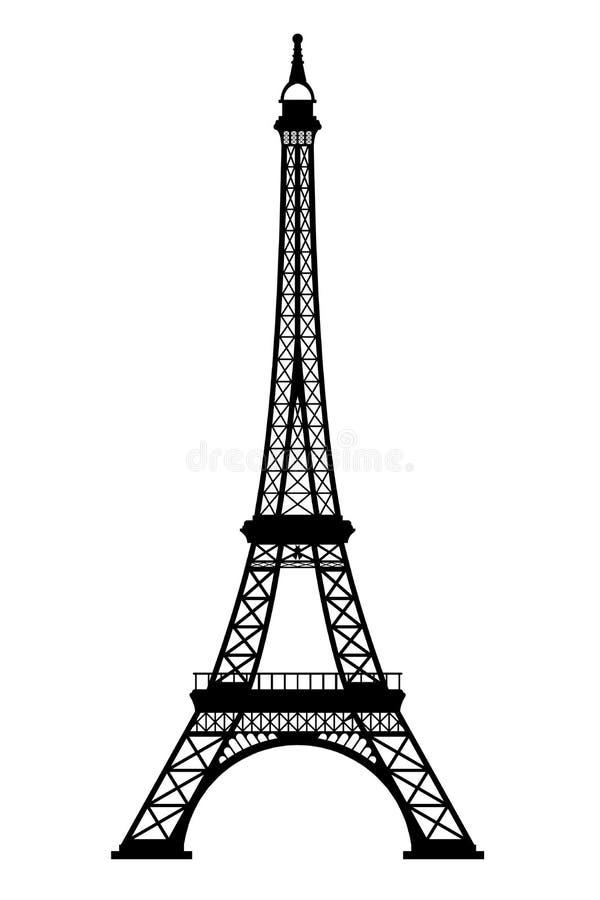 Eiffelturm-schwarzes Schattenbild auf weißem Hintergrund lizenzfreie abbildung