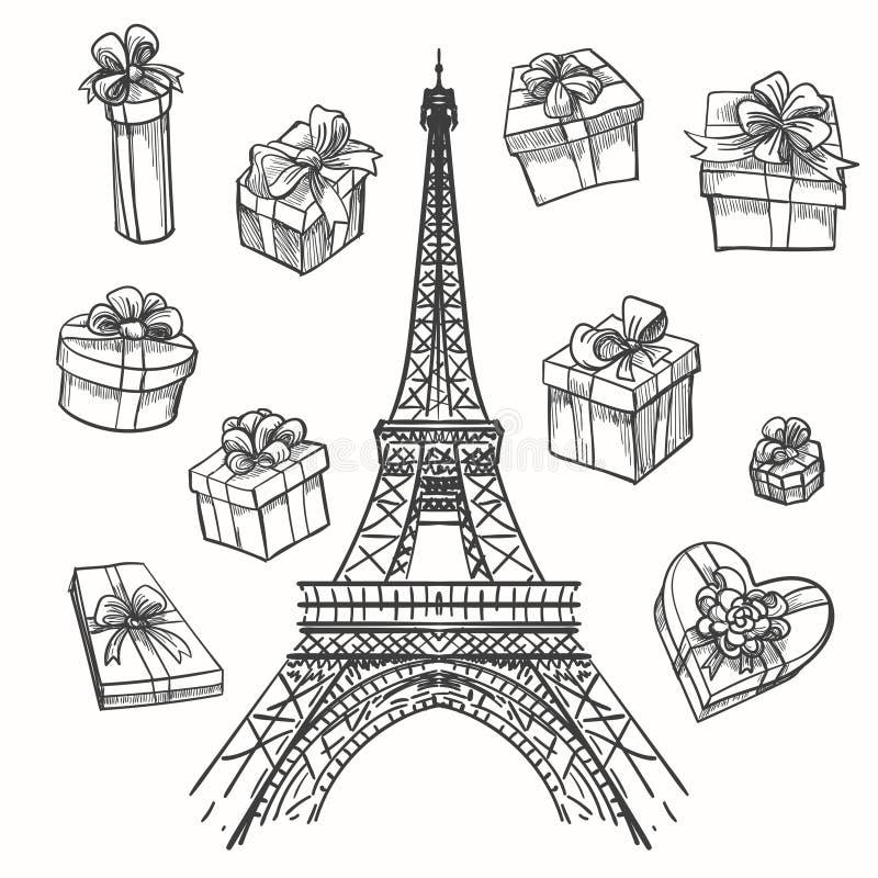 Eiffelturm und Geschenkboxen lizenzfreie abbildung
