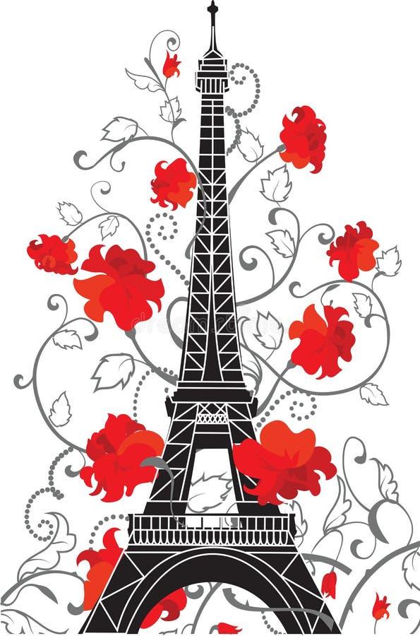 Eiffelturmvektorschattenbild stock abbildung
