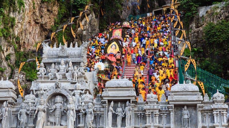 Eifrige Anhänger anwesend an Thaipusam-Festival in Malaysia lizenzfreie stockbilder