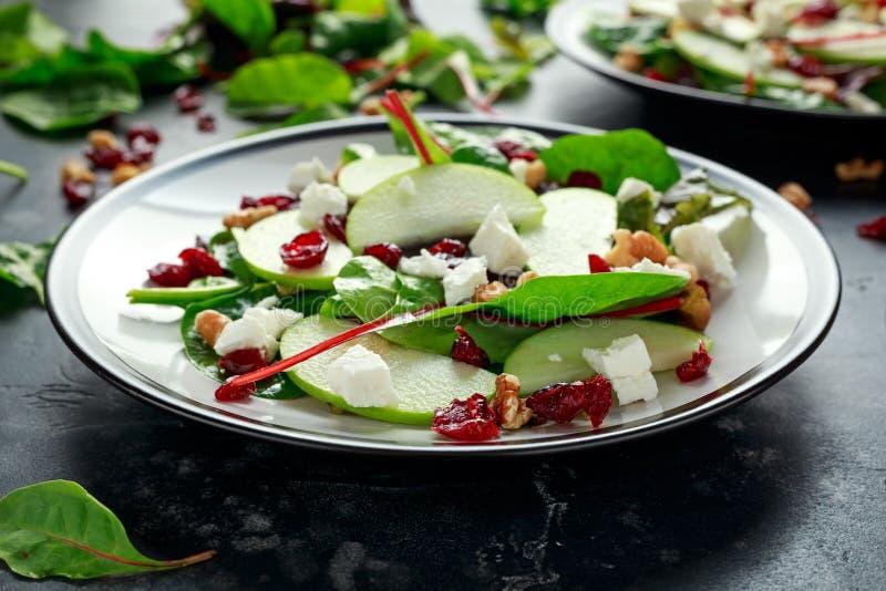 Eigengemaakt Autumn Apple Cranberry Salad met okkernoot, feta-kaas en groenten royalty-vrije stock afbeeldingen