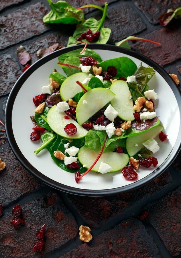 Eigengemaakt Autumn Apple Cranberry Salad met okkernoot, feta-kaas en groenten royalty-vrije stock fotografie