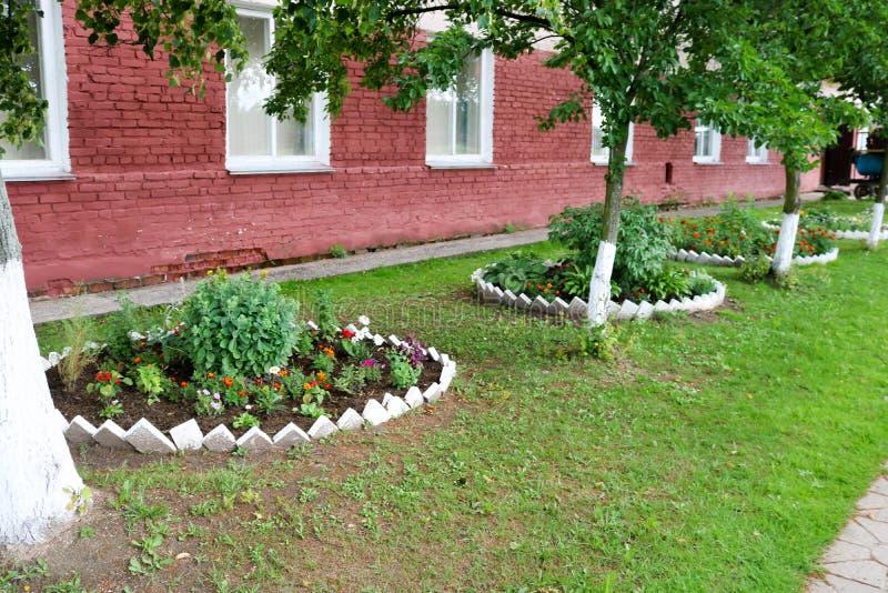 Eigengemaakt bloembed met mooie cet en installaties, greens en groen gras royalty-vrije stock foto