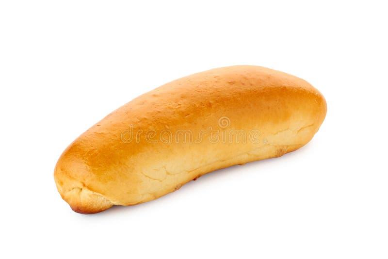Eigengemaakt hotdogbroodje op wit royalty-vrije stock afbeelding