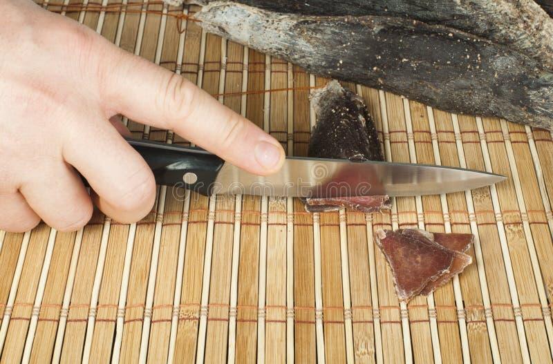 Eigengemaakt natuurlijk kalfsvlees droog vlees royalty-vrije stock foto's