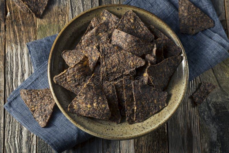 Eigengemaakt Zout Zwart Bean Tortilla Chips royalty-vrije stock afbeeldingen