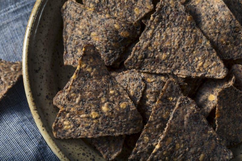 Eigengemaakt Zout Zwart Bean Tortilla Chips royalty-vrije stock afbeelding