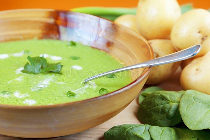 Eigengemaakte aardappel en spinaziesoep stock afbeeldingen