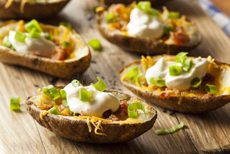 Eigengemaakte Aardappelhuiden met Bacon stock afbeelding