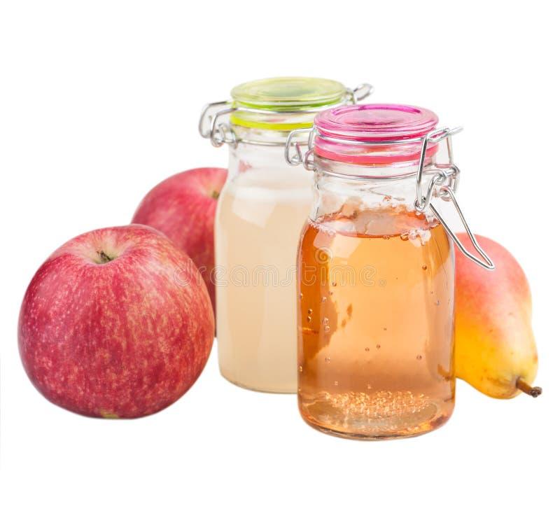 Eigengemaakte appel en perencider royalty-vrije stock afbeelding