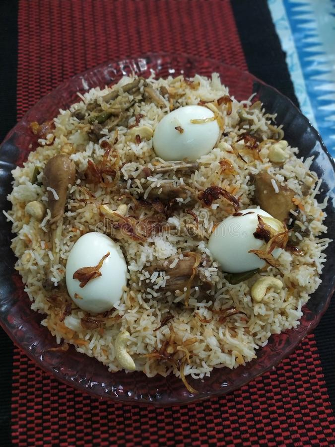 Eigengemaakte Biriyani voor Eid stock foto
