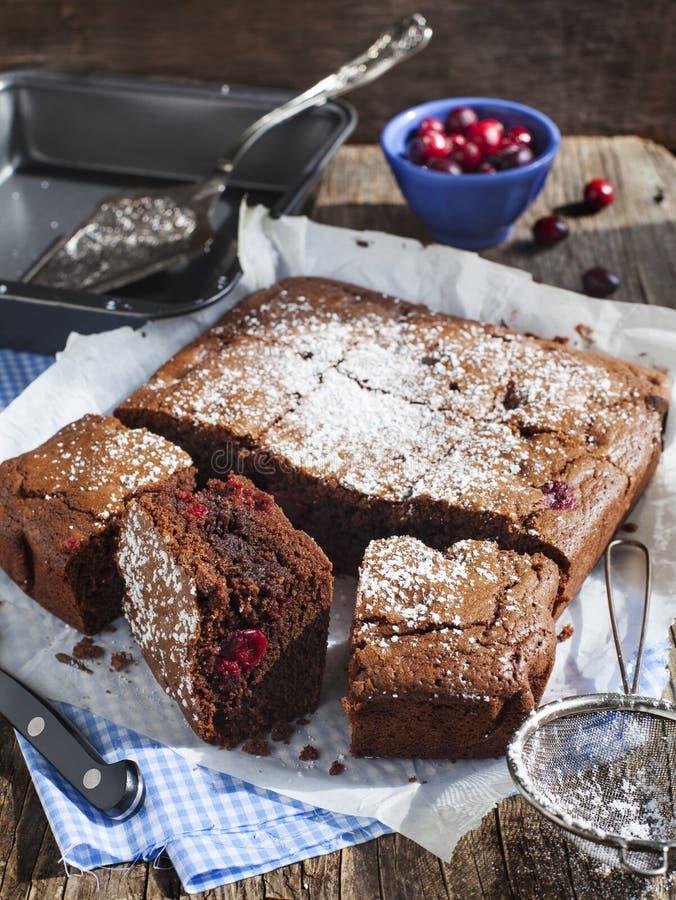 Eigengemaakte brownie met Amerikaanse veenbessen stock afbeeldingen
