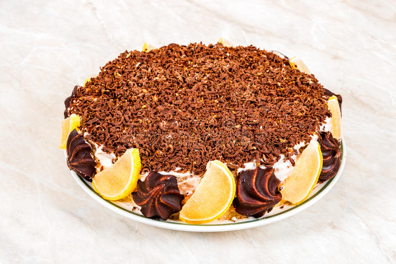 Eigengemaakte cake met vruchten royalty-vrije stock fotografie