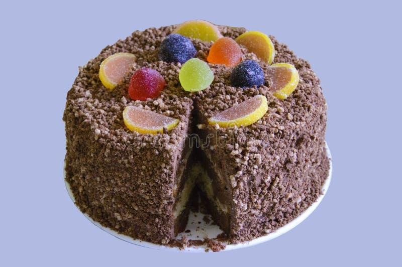 Eigengemaakte cake Praag met chocoladeroom stock foto