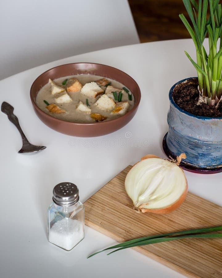Eigengemaakte champignonsoep met ui stock afbeelding