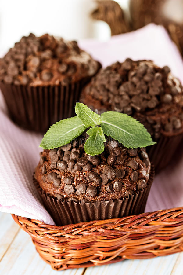 Eigengemaakte chocolademuffins in document cupcake houder stock foto's