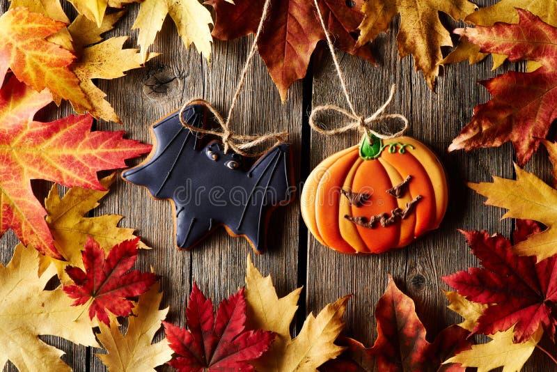 Eigengemaakte de peperkoekkoekjes van Halloween royalty-vrije stock fotografie