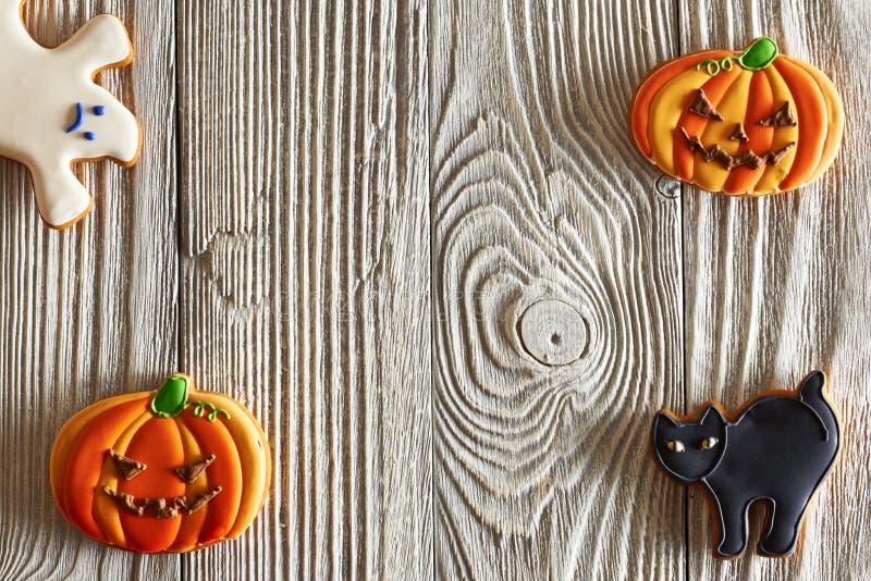 Eigengemaakte de peperkoekkoekjes van Halloween stock afbeelding