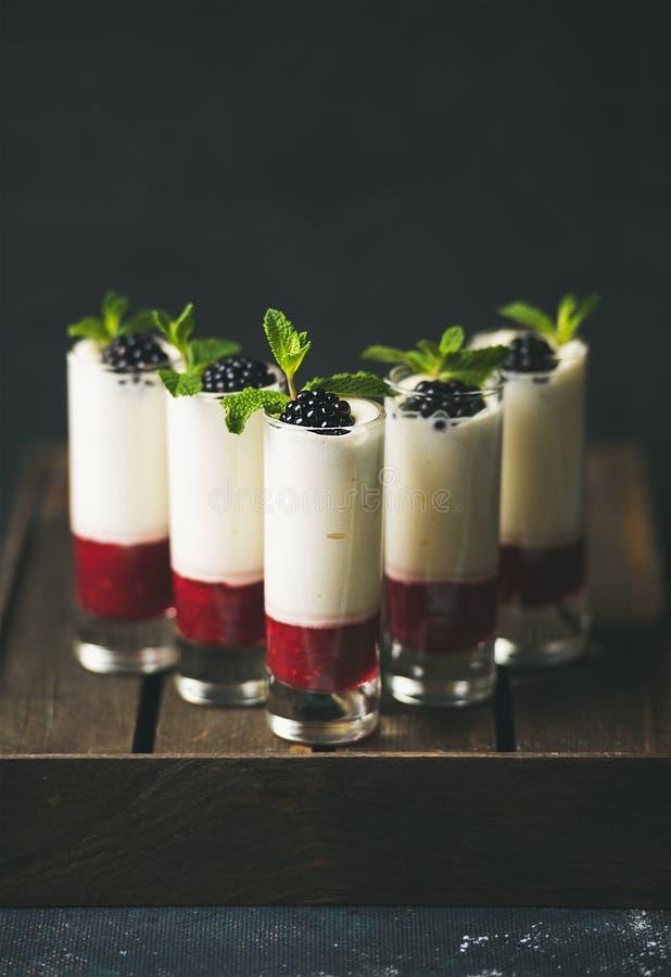 Eigengemaakte desserts met verse braambes en munt over donkere achtergrond stock afbeelding