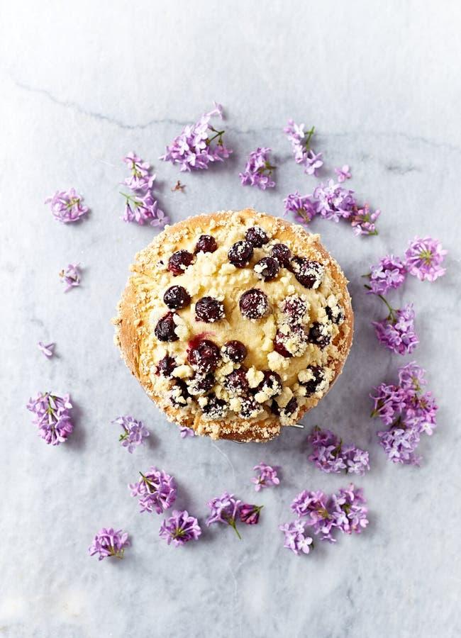 Eigengemaakte die Bosbessencake met Lilac Bloemen wordt verfraaid royalty-vrije stock fotografie