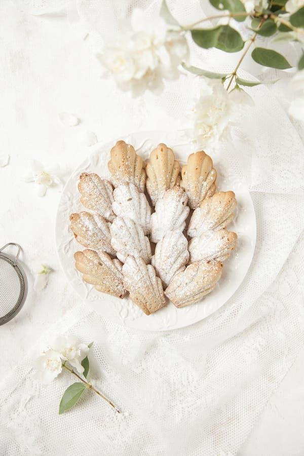 Eigengemaakte Franse koekjescakes Madeleine met jasmijnthee op witte achtergrond met verse syringa floweres royalty-vrije stock foto