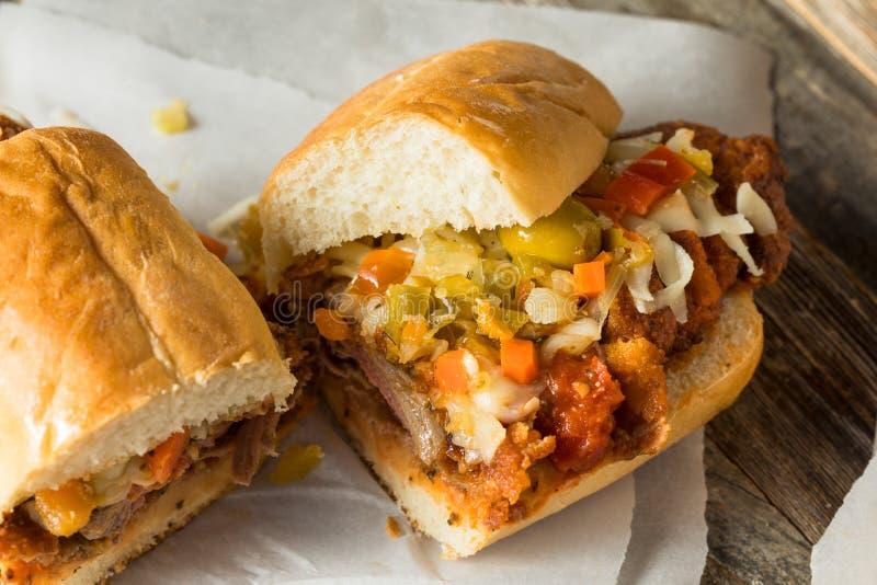 Eigengemaakte Gepaneerde het Lapje vleessandwich van Chicago royalty-vrije stock foto