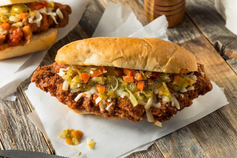 Eigengemaakte Gepaneerde het Lapje vleessandwich van Chicago stock fotografie
