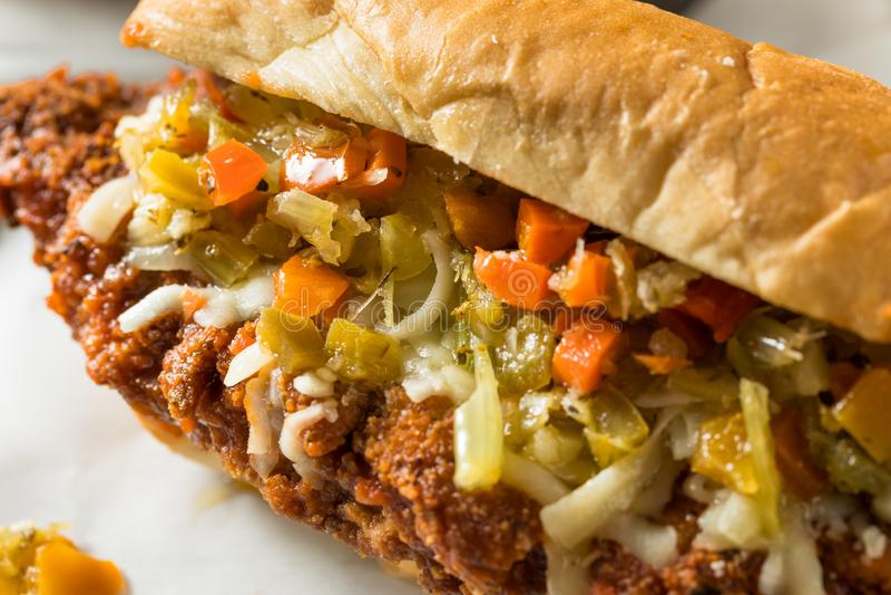 Eigengemaakte Gepaneerde het Lapje vleessandwich van Chicago stock foto