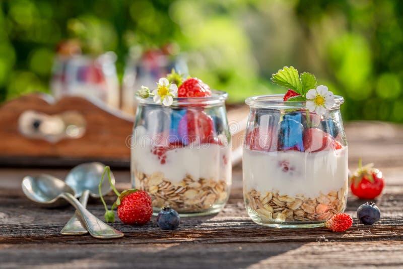 Eigengemaakte granola in kruik met yoghurt en bessen stock fotografie