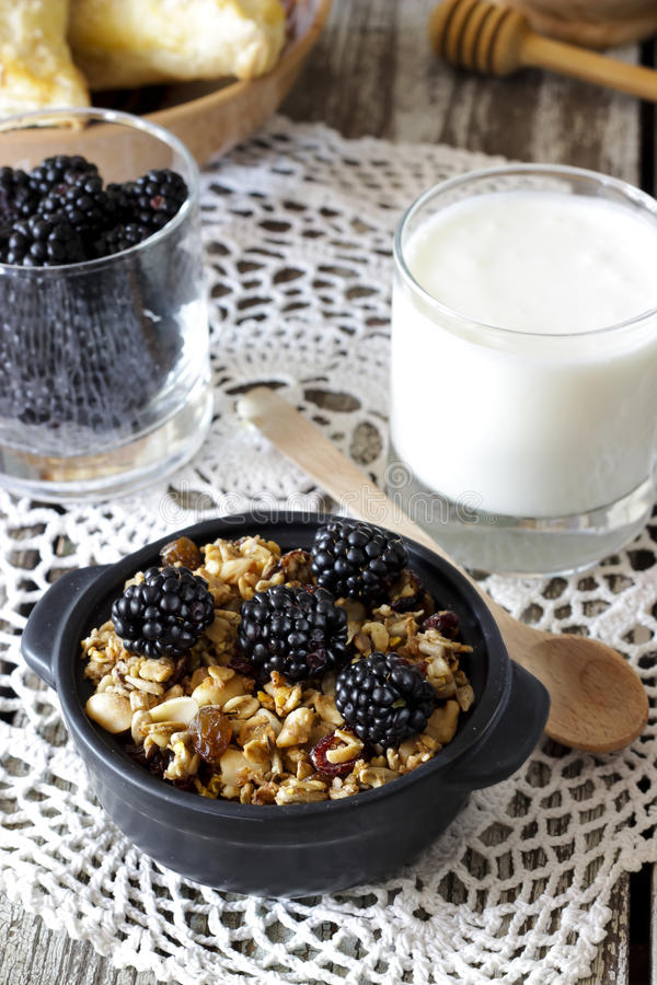 Eigengemaakte granola met yoghurt en braambes, gezond ontbijt royalty-vrije stock afbeeldingen