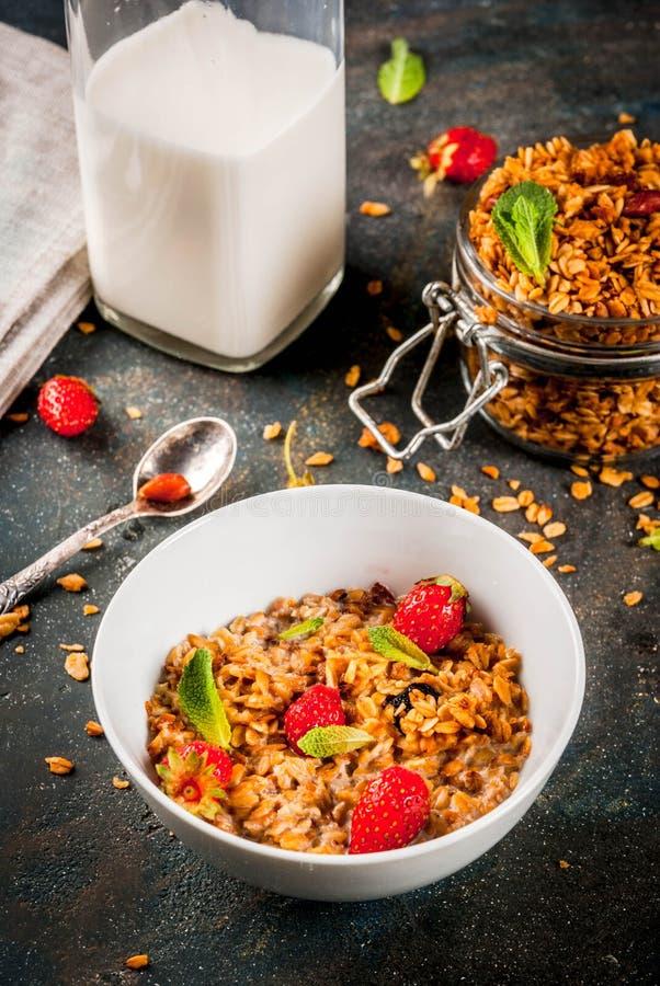Eigengemaakte granola van mengeling van graangewassen (gerst, haver, rogge, zemelen) wi stock afbeeldingen
