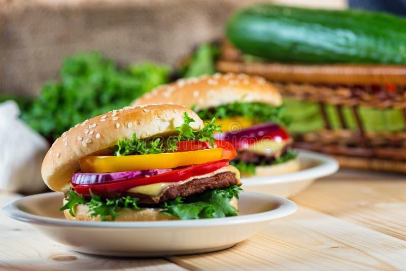 Eigengemaakte hamburger stock foto